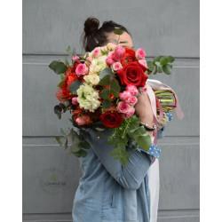 Bouquet grande rosso e rosa